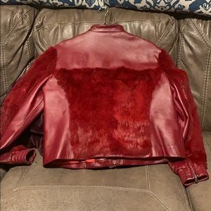 Beautiful Red Leather and Rabbit Hair Jacket